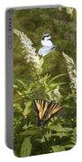 Butterflies In Golden Garden Portable Battery Charger