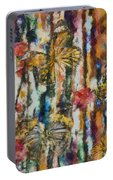 Butterflies In Plum Blossoms And Texture Portable Battery Charger