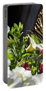 Swallowtail Butterfly On White Petunia Flower Portable Battery Charger
