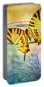 Butterfly Blue Glass Jar Portable Battery Charger