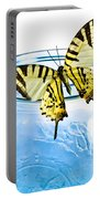 Butterfly On A Blue Jar Portable Battery Charger by Bob Orsillo