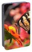 Butterfly On Orange Sunflower Portable Battery Charger