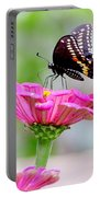 Butterfly On Pink Flower Portable Battery Charger