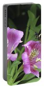 Butterfly On Pink Lillies Portable Battery Charger