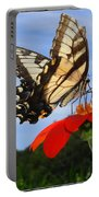 Butterfly On Red Daisy Portable Battery Charger