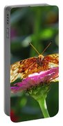 Fritillary Butterfly On Zinnia Portable Battery Charger