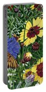 Butterfly Wildflowers Garden Oil Painting Floral Green Blue Orange-2 Portable Battery Charger