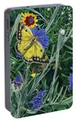 Butterfly Wildflowers Spring Time Garden Floral Oil Painting Green Yellow Portable Battery Charger