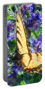 Butterfly With Purple Flowers 3 Portable Battery Charger