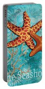 By The Sea Shore Original Coastal Painting Colorful Starfish Art By Megan Duncanson Portable Battery Charger