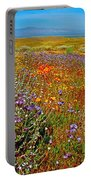 Ca Poppies And Goldfields And Lacy Phacelia And Sage In Antelope Valley Ca Poppy Reserve-california Portable Battery Charger