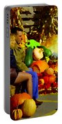 Cabbage Patch Kids - Giant Pumpkins - Marche Atwater Montreal Market Scene Art Carole Spandau Portable Battery Charger
