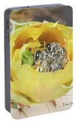 Cactus Flower With Ball Of Bees Portable Battery Charger