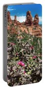 Cactus Flowers And Red Rocks Portable Battery Charger