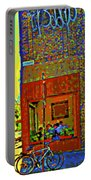 Cafe Window Corner Rue Fabre Near The Bicycle Stand Art Of Montreal Summer Street Scene  Portable Battery Charger