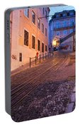 Calcada Da Gloria Street At Dusk In Lisbon Portable Battery Charger