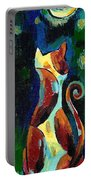 Calico Cat Abstract In Moonlight Portable Battery Charger