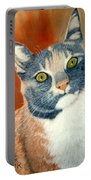 Calico Cat Portable Battery Charger by Karen Zuk Rosenblatt