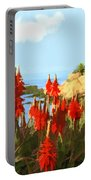 California Coastline With Red Hot Poker Plants Portable Battery Charger