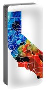 California - Map Counties By Sharon Cummings Portable Battery Charger