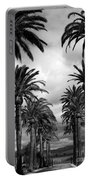 California Palms - Black And White Portable Battery Charger