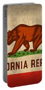 California State Flag Art On Worn Canvas Portable Battery Charger by Design Turnpike