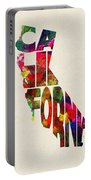 California Typographic Watercolor Map Portable Battery Charger