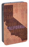 California Word Art State Map On Canvas Portable Battery Charger