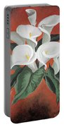 Calla Lilies On A Red Background Portable Battery Charger