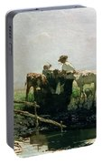 Calves At A Pond, 1863 Portable Battery Charger