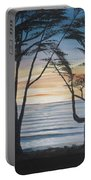 Cambria Cypress Trees At Sunset Portable Battery Charger