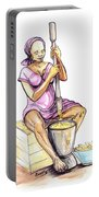 Cameroon Woman Grinding Plantain Bananas Portable Battery Charger