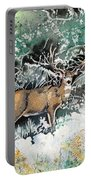 Camouflaged Mule Deer Buck In Winter Portable Battery Charger