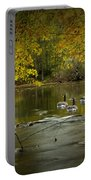 Canada Geese In Autumn Swimming On The Thornapple River Portable Battery Charger