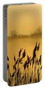 Canada Geese In Flight At Sunrise Portable Battery Charger