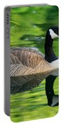 Canada Goose On Green Pond Portable Battery Charger
