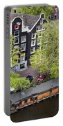 Canal Houses And Houseboat In Amsterdam Portable Battery Charger