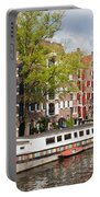 Canal In Amsterdam Portable Battery Charger