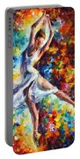 Candle Fire - Palette Knife Oil Painting On Canvas By Leonid Afremov Portable Battery Charger