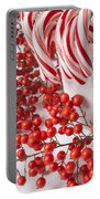 Candy Canes And Red Berries Portable Battery Charger
