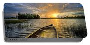 Canoeing At Sunrise Portable Battery Charger