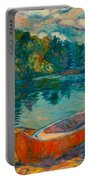 Canoes At Mountain Lake Portable Battery Charger