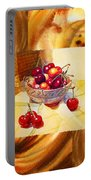 Cappuccino Abstract Collage Cherries Portable Battery Charger