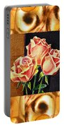 Cappuccino Abstract Collage French Roses Portable Battery Charger