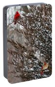 Cardinal Couple In Evergreen Portable Battery Charger
