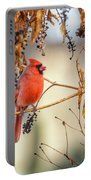 Cardinal In The Pokeberries Portable Battery Charger