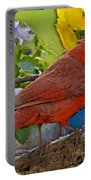Cardinal With Pansies And Decorations Photoart Portable Battery Charger