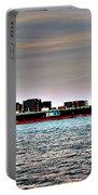 Cargo Ship Near Chesapeake Bay Bridge Tunnel Portable Battery Charger