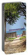 Cargo Ship On Chesapeake Bay Portable Battery Charger