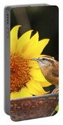 Carolina Wren And Sunflowers Portable Battery Charger